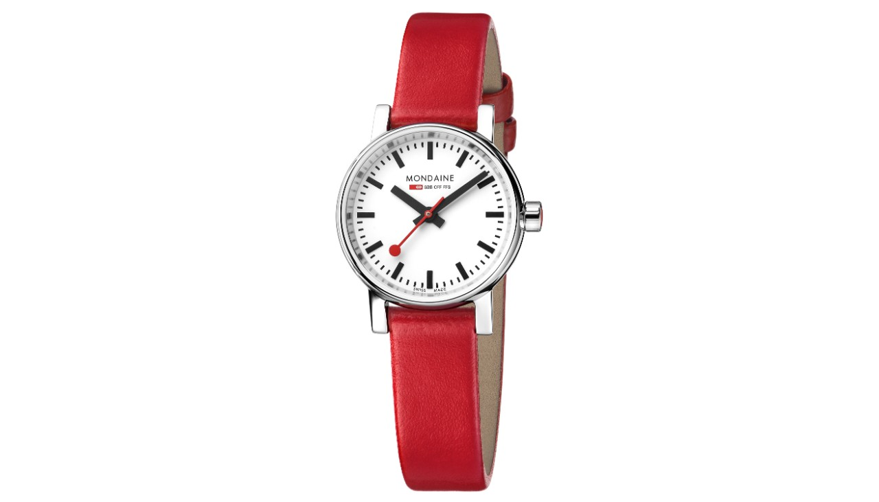 This watch has a white face, housing made of polished stainless steel and a diameter of 26mm. The red leather strap is 12mm wide.