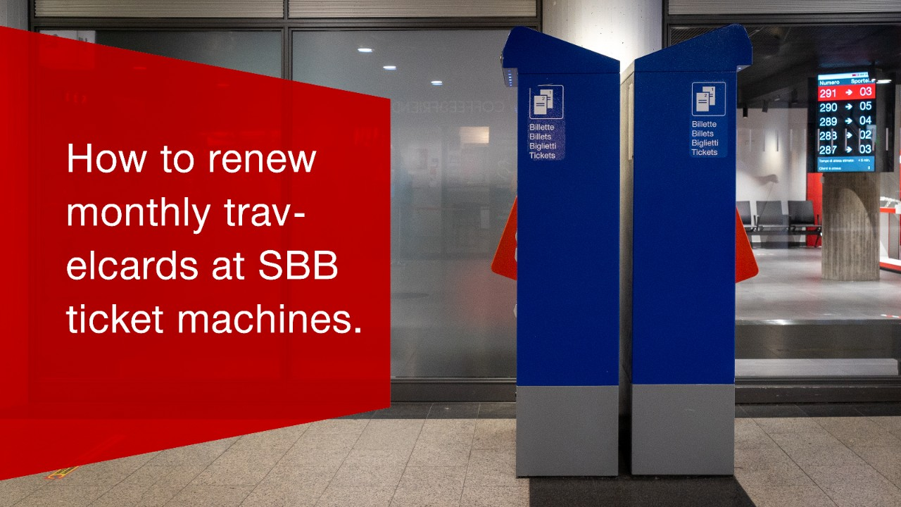 Video: How to renew monthly travelcards at SBB ticket machines.